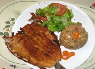 Trucha Frita con arroz
